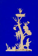 Hans Christian Andersen, Pierrot, Tree, Angel and a Ballerina in a Nest at the Top of a Tree, 19th C. paper cut-out, 13.2 x 9 cm, Hans Christian Andersen Museum/Odense City Museums, Denmark