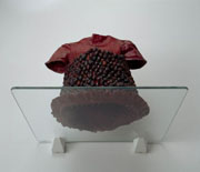 Alice Maher, Berry Dress, 1994, Rosehips, cotton, paint, sewing pins, 16 x 26 x 30 cm, Collection Irish Museum of Modern Art, Purchase, 1995