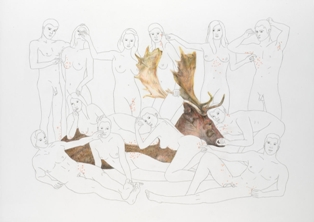 ANGELVS DOMINI, Catching fleas from the deer, Pencil drawing on paper, 84x60cm, 2007