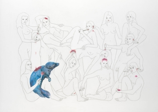 ANGELVS DOMINI, Spreading jam on the seal, Pencil drawing on paper, 84x60, 2007