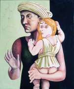 David Godbold, Madonna and Child with Onlookers, 1992, Acrylic and sepia ink on canvas	, 70 x 58 cm, Purchase, Collection Irish Museum of Modern Art