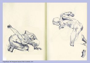 Fergus Byrne, Protagonists Separate, 2007, biro in notebook, 21.5 x 15 cm, Courtesy of the artist