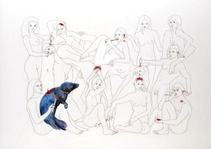Fernanda Chieco. ANGELVS DOMINI: Spreading Jam on the Seal, pencil on paper, 2007.