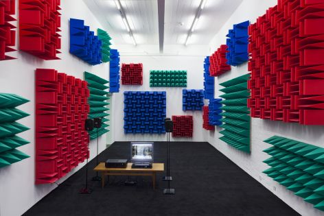 Haroon Mirza , Digital Switchover, 2012, Installation View, Kunst Halle Sankt Gallen, St.Gallen, 2012, 1 x control box, 4 x active speakers, 1 x relay, 1 x DVD player, 1 x TFT monitor, LEDs, foam
