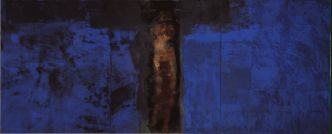 Hughie O'Donoghue, Blue Crucifixion, 1993-2003, Oil on Linen, 330.2 x 823, Courtesy of the artist