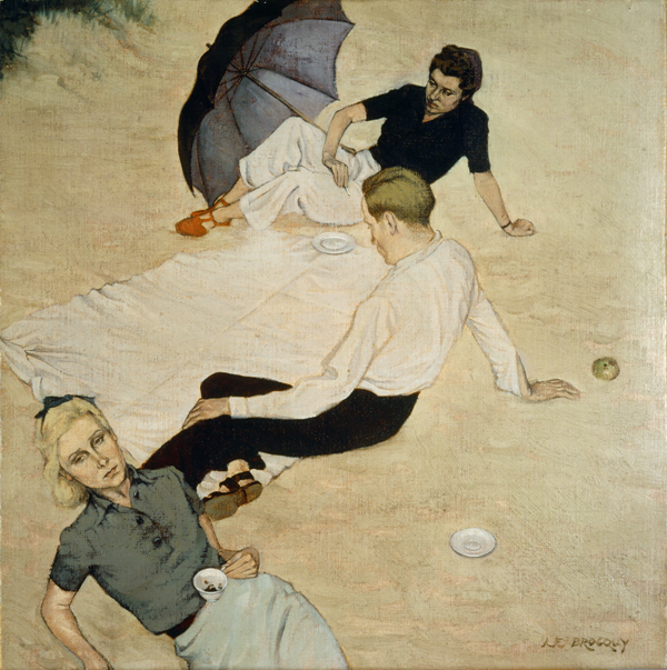 Louis le Brocquy, A Picnic, 1940. Wax-resin medium on canvas mounted on board. 40 x 40 cm. Collection Irish Museum of Modern Art