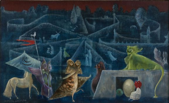 Leonora Carrington, Ulu's Pants, 1952, Oil and tempera on panel, 55 x 91 cm, Private Collection, © Estate of Leonora Carrington / ARS