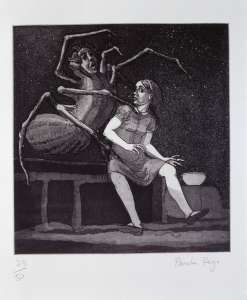 Paula Rego, Little Miss Muffet, 1989, Etching and aquatint, 23/50, 52 x 38 cm, Collection Irish Museum of Modern Art, Purchase, 1996