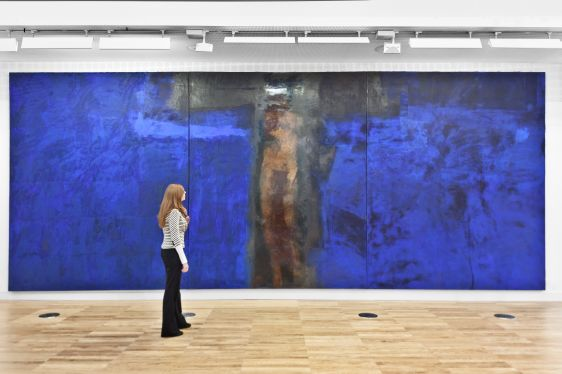 Hughie O'Donoghue, Blue Crucifixion, 1993 – 2003, Oil on linen canvas , 330.2 x 823 cm, Collection Irish Museum of Modern Art, Gift, The American Ireland Fund, 2010. Installation view Luan Gallery, Athlone, 2012. Photo: Corin Bishop Photography