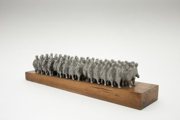 Oisín Kelly, The Marchers, 1969, Cast aluminium, 18 x 78 x 7cm, Collection Irish Museum of Modern Art, Heritage Gift by the Bank of Ireland from the Bank of Ireland collection, 2008