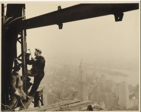 Lewis W. Hine, Welders on the Empire State Building, c. 1930, Gelatin silver print, 10 5/8 x 13 5/8″ (27 x 34.6 cm), The Museum of Modern Art, New York. Committee on Photography Fund