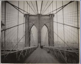 Unknown Photographer, Brooklyn Bridge, c. 1914, Gelatin silver print, 7 5/8 x 9 9/16″ (19.4 x 24.3 cm), The Museum of Modern Art, New York. The New York Times Collection