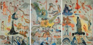 Nalini Malani, Appeasing Radha, 2006, Triptych, 183 X 122 cm each, overall size 185 X 366 cm, Acrylic and enamel reverse painting on acrylic sheet, Courtesy of the artist