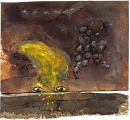 Pat Hall, Sprinkle Ochre into my Eyes, 2004, Ink, watercolour and pastel on paper, 14 x 15 cm, Collection Irish Museum of Modern Art, Donation, the artist, 2008