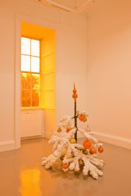 Philippe Parreno, Fraught Times: For Eleven Months of the Year it's an Artwork and in December it's Christmas; November 2009, christmas tree in cast aluminium, paint, 120 cm height. Installation view Irish Museum of Modern Art. Photographer: Denis Mortell