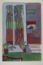 Tony O'Malley, Patio Reflections with Susie and interior, Paradise 2 Bahamas, 1980, Gouache, pastel and coloured chalks on paper, 77.5 x 52 cm, Heritage Gift from the McClelland Collection by Noel and Anne Marie Smyth, 2003