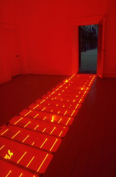 Vong Phaophanit, Line Writing, 1994, 6 rows of red neon with Laotian script, 700 x 150 cm, Collection Irish Museum of Modern Art, Purchase 1995