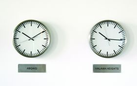 Will Kwan, Clocks that do not tell the time, 2008, 24 wall clocks, 24 metal signs