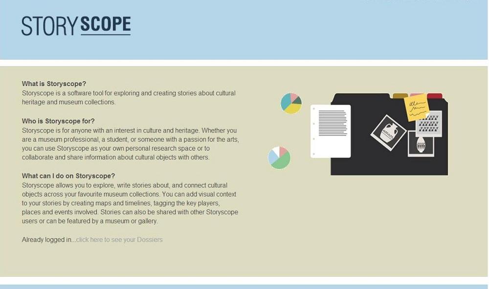 Fig 1 Storyscope 6 Homepage Log in