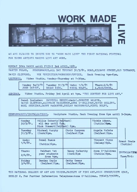 Work Made Live festival invitation (1981) Collection National Irish Visual Arts Library, Performance Art Subject File.
