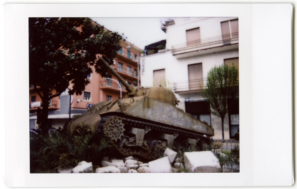 Allied Sherman tank in Cassino centre, 2015