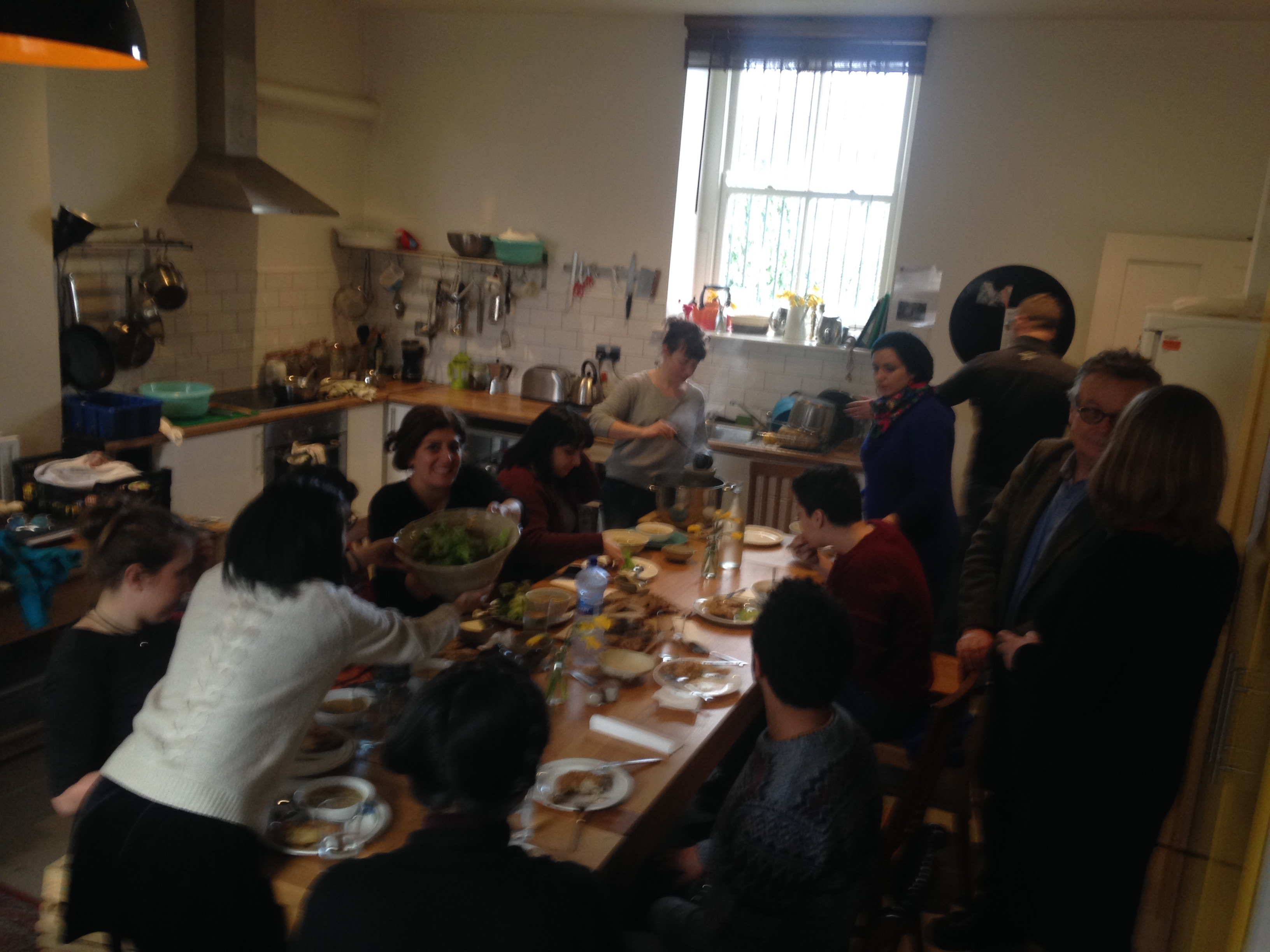 Workshop students and participants eating lunch together in IMMA's artist studios