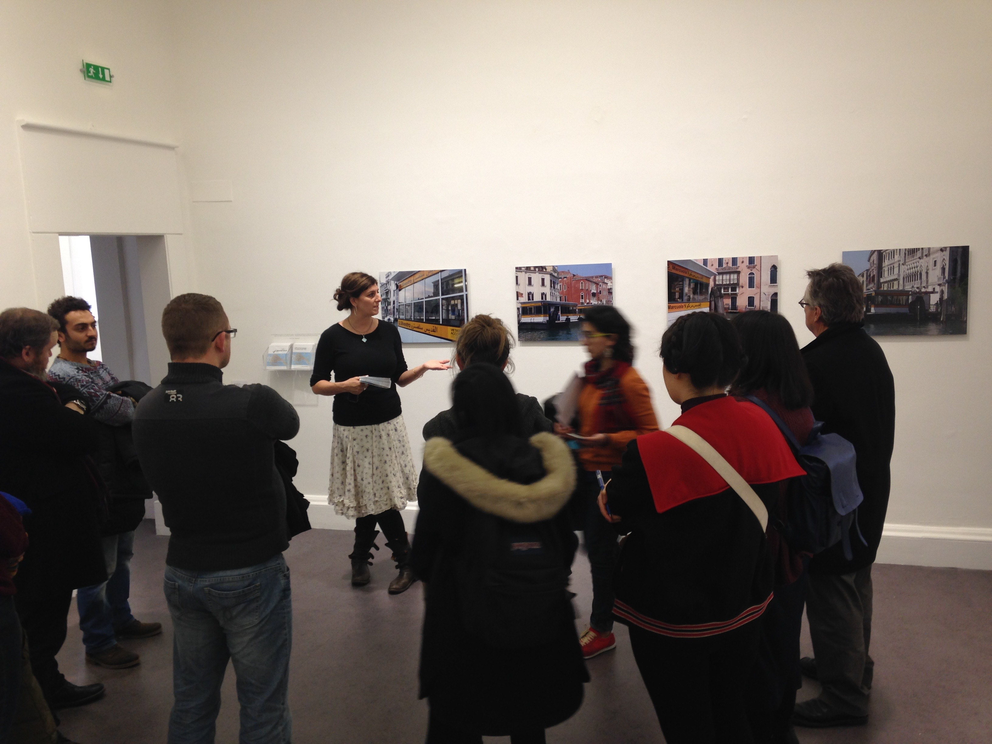 Artist Emily Jacir with workshop participants in her IMMA exhibition Europa