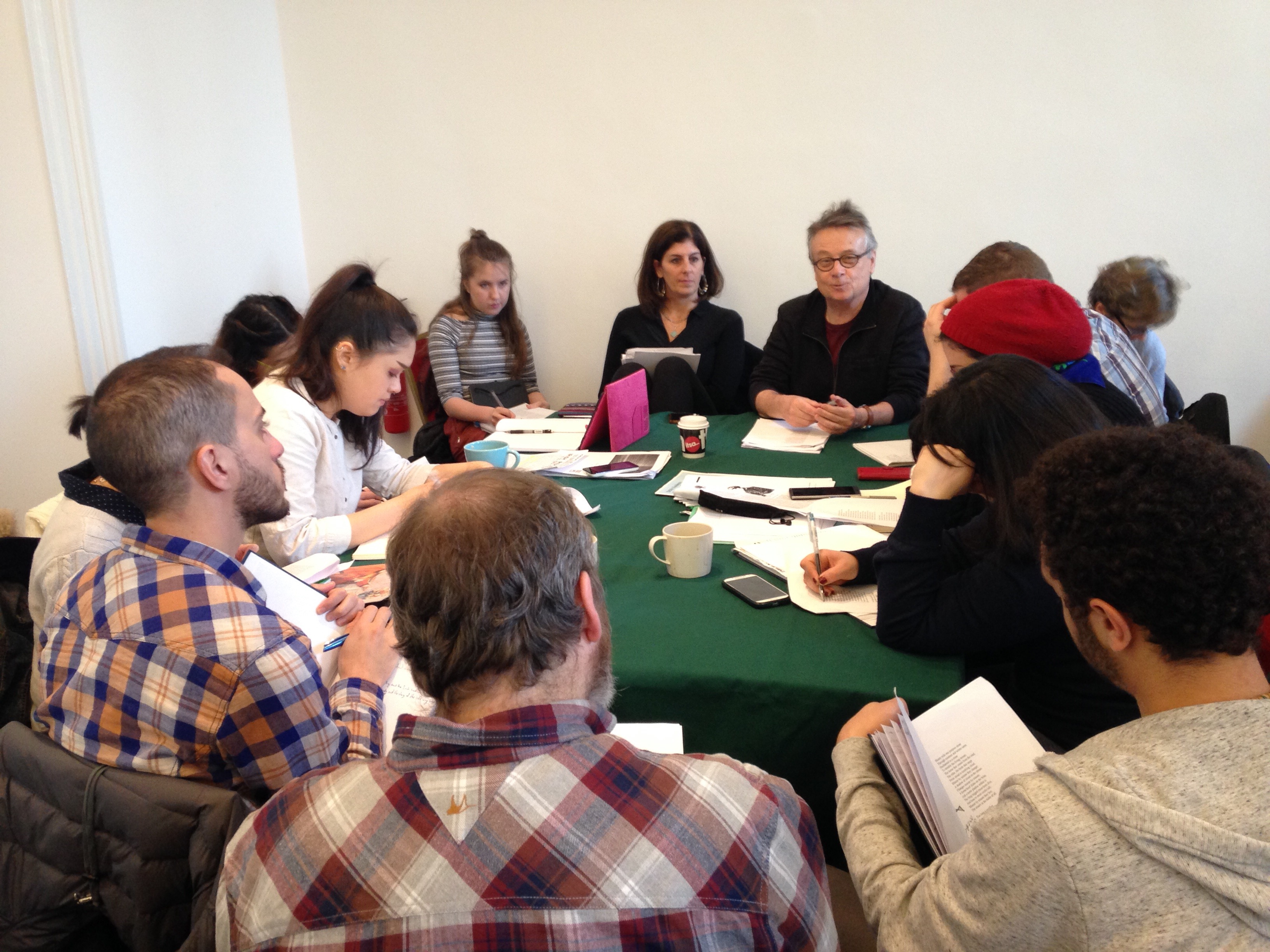 Workshop participants in session with David Lloyd and Emily Jacir at IMMA