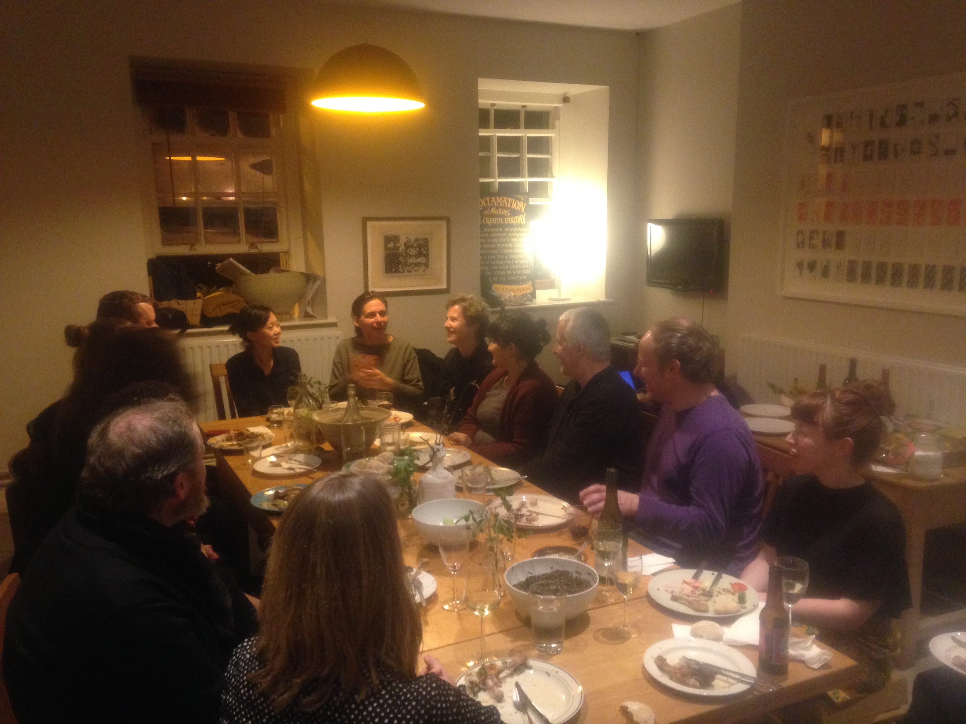 Final dinner with artists, students, participants in IMMA's Residency communal house.