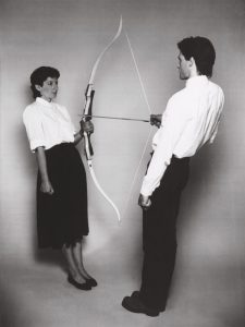 Ulay/Marina Abramović, Rest Energy, Performance for Video, 4 minutes, ROSC' 80, Dublin, 1980 © Ulay/Marina Abramović, Courtesy of the Marina Abramović Archives
