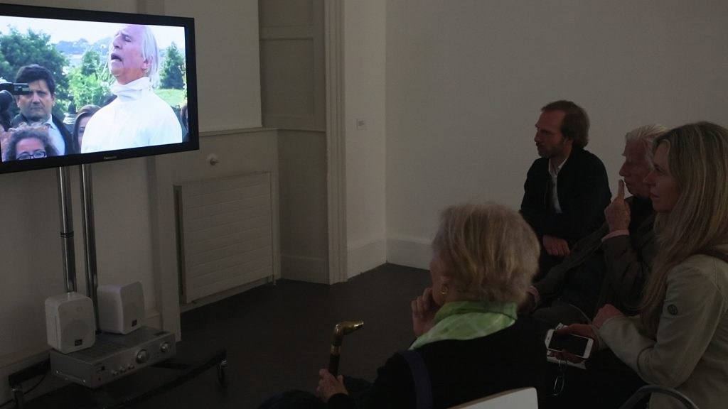 L – R: Barbara Novak, Christina Kennedy, Brian O'Doherty and Dr. Boris Hars-Tschachotin viewing Lament for Patrick Ireland (2010) directed by Sé Merry Doyle, Loopline Film. Photography AlanJames Burns