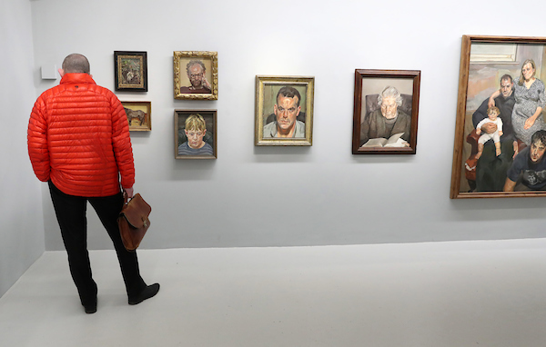 A visitor views works by Lucian Freud in IMMA Collection: Freud Project, The Ethics of Scrutiny, curated by Daphne Wright. Photo: Marc O'Sullivan.