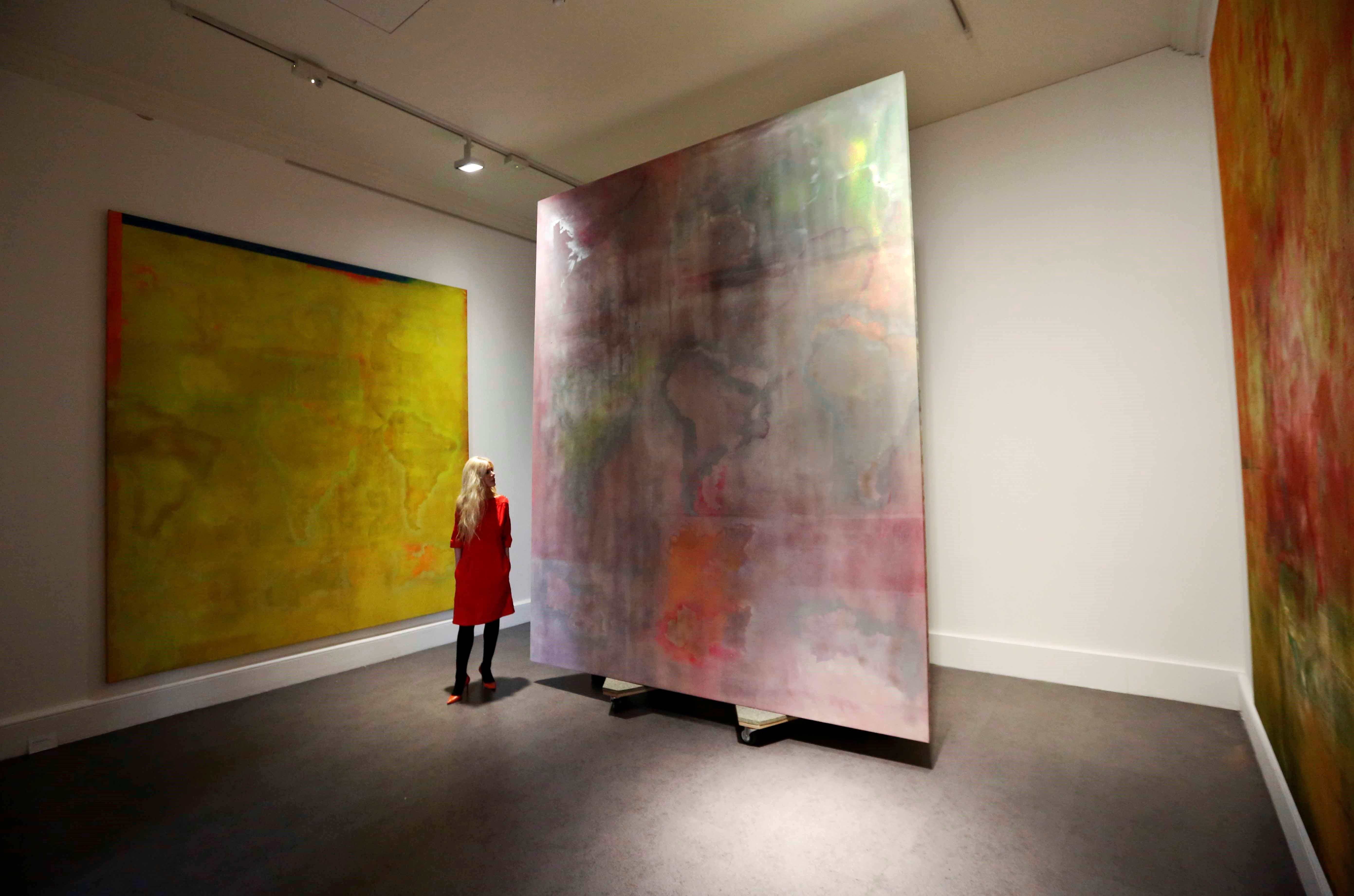 Frank Bowling, Mappa Mundi, 2018. Installation view IMMA. Photo: Sasko Lazarov