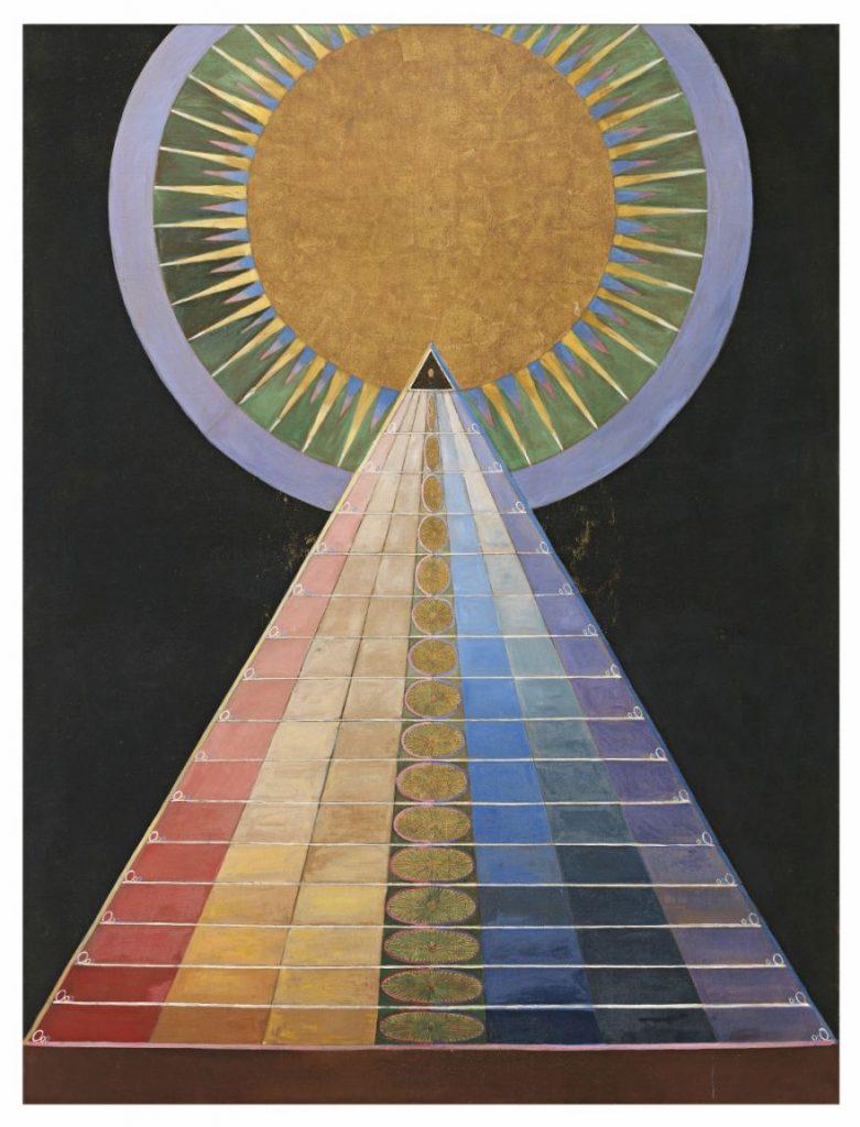 Hilma af Klint, Altarpiece, No 1, Group X, Series Altarpieces, 1915 , Oil and metal leaf on canvas, Photo: Albin Dahlström / Moderna Museet