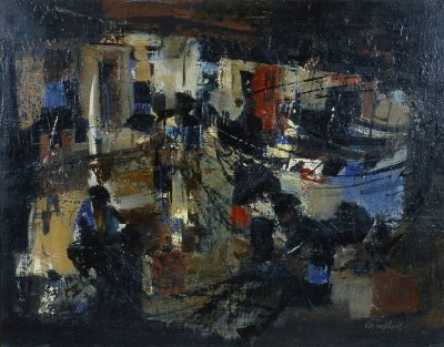 Fishing Harbour Night,  (mending nets)