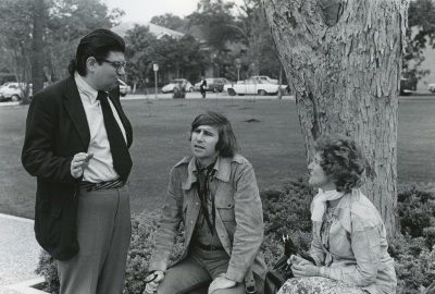 Morton Feldman, Brian O'Doherty and Barbara Novak at the premier of Feldman's 'The Rothko Chapel', Houston