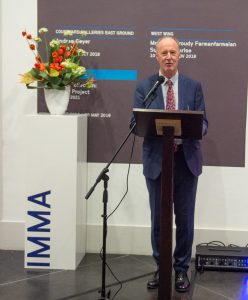 An image of Interim Director Moling Ryan speaking at an IMMA event