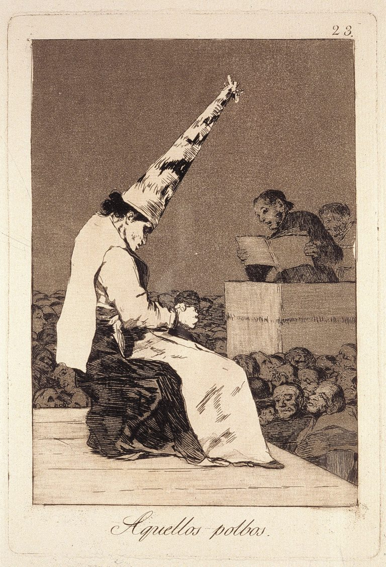 Francisco de Goya. Aquellos Polbos (That Dust), 1797-98. Etching and aquatint. 21.7 x 14.8 cm. Collection Irish Museum of Modern Art. Donation, Madden Arnholz Collection, 1989.