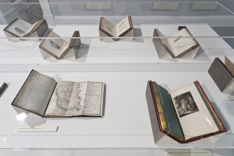 Installation view of books from the Thomas Bewick Collection , The Madden Arnholz Collection, Curated by Janet and John Banville 2011