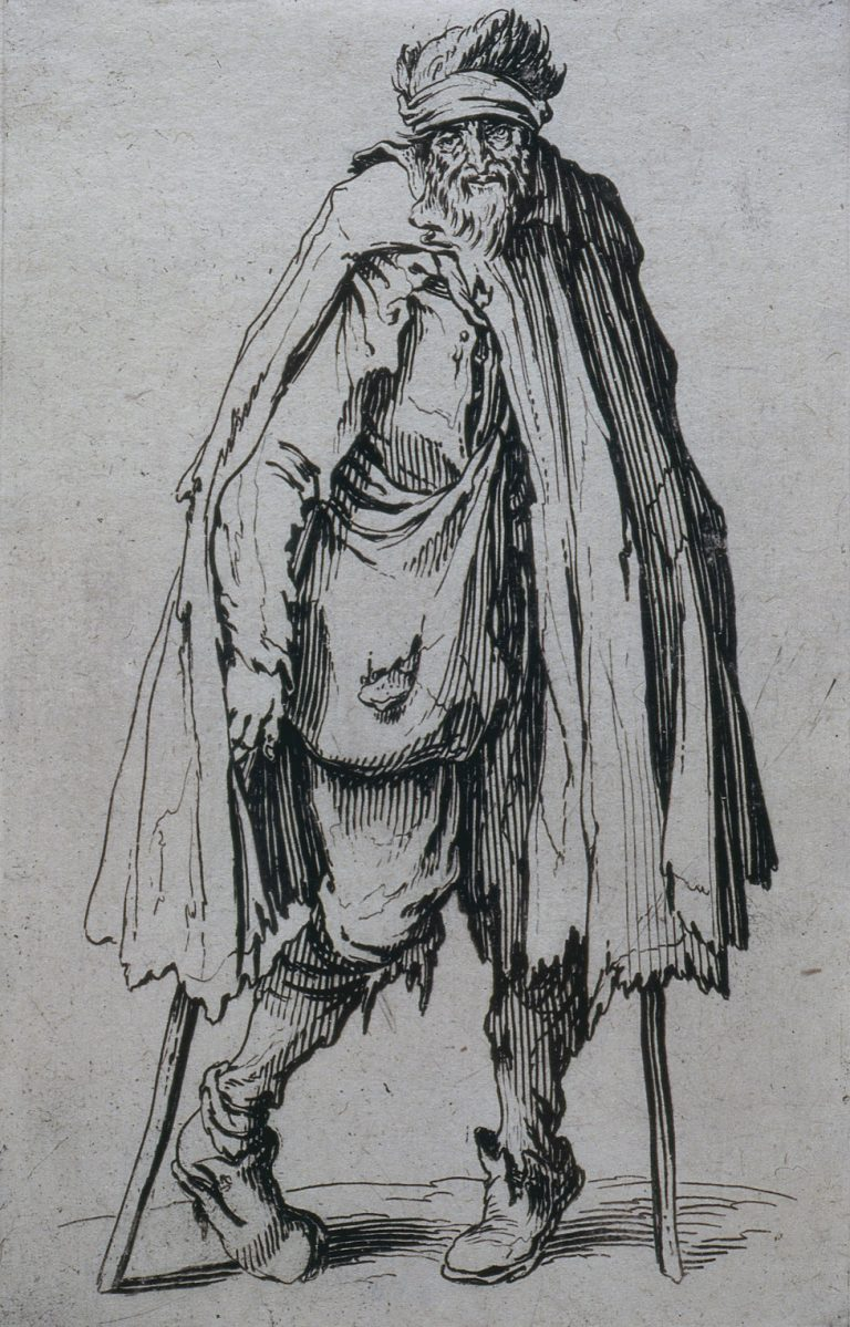 Jacques Callot. Beggar on Crutches. The Complete Beggards (Les Gueux), 1620. Etching. 13.6 x 8.8 cm. Collection Irish Museum of Modern Art. Donation, Madden Arnholz Collection, 1989