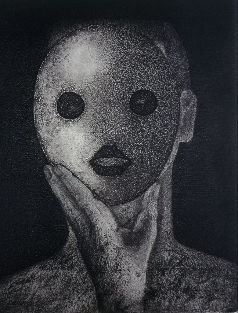 Mary Farl Powers, Mask Head 1, 1973, Monochrome etching, 30.5 x 25 cm, Collection Irish Museum of Modern Art, Donation, Powers Family, 2009