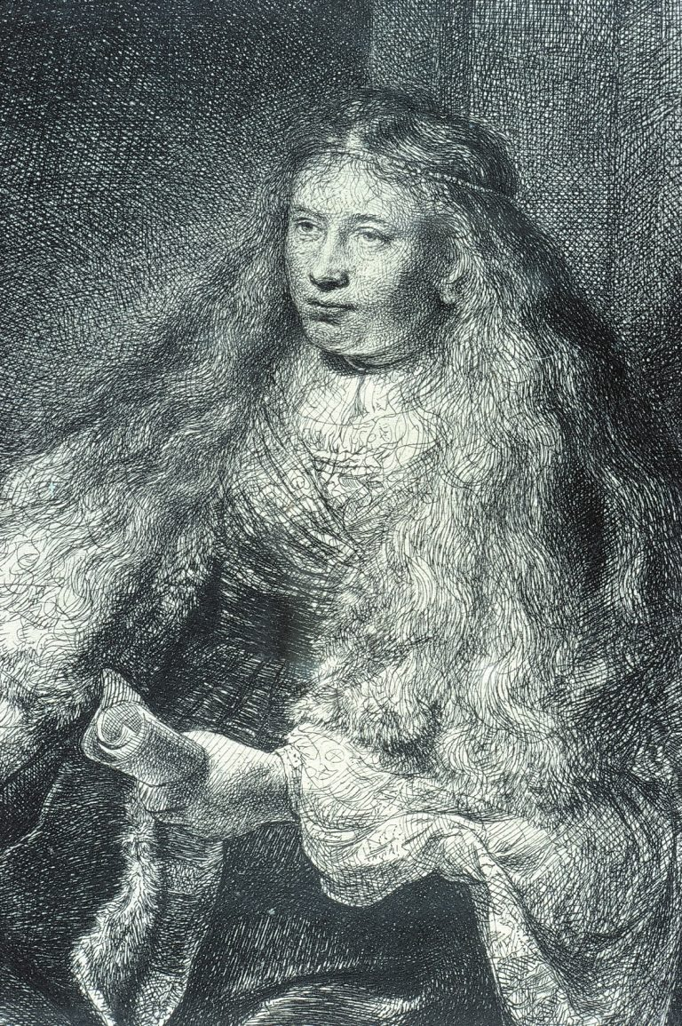 Rembrandt van Rijn. The Great Jewish Bride, 1635. Etching. 21.3 x 6.2 cm. Collection Irish Museum of Modern Art. Donation, Madden Arnholz Collection, 1989.