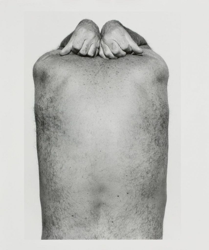 John Coplans. Self Portrait (Back and Hands), 1984. Gelatin silver print. 60.2 x 50.5 cm. Collection Irish Museum of Modern Art. Donation, The Novak/O'Doherty Collection at IMMA. Gift, The American Ireland Fund, 2014. Photography: Denis Mortell Photography