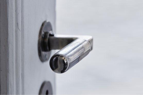 IN DIALOGUE WITH THE PAST, 2019 Walter Gropius nickel-coated brass door handles 4 x 11 x 5 cm