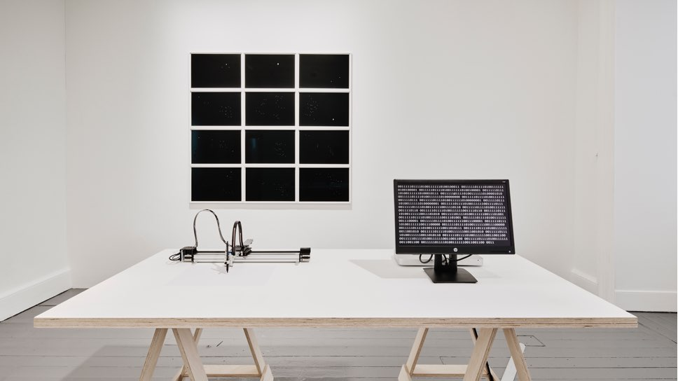 Walker and Walker. MORNING STAR, EVENING STAR, 2019. Plotter, computer, monitor, paper, table. 42 x 29.7 paper, installation dimensions variable
