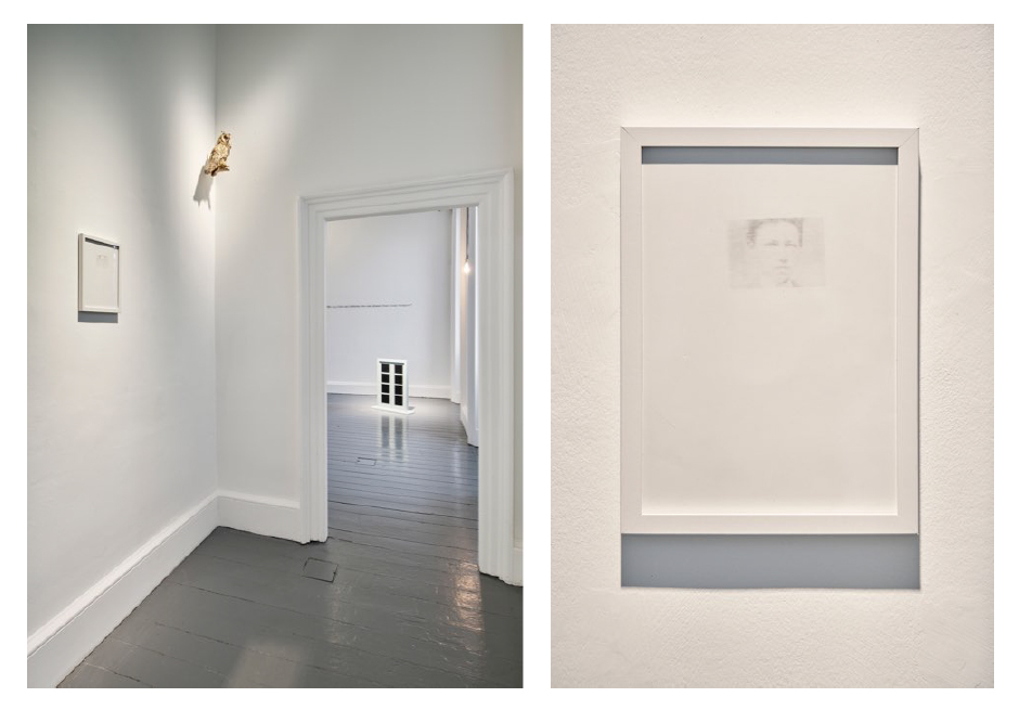 Walker and Walker. THE OWL OF MINERVA SPREADS ITS WINGS WITH THE FALLING OF THE DUSK, 2012. Taxidermy long-eared owl 39 x 12 x12 cm (left). Walker and Walker. ARTHUR RIMBAUD, O BLUE, E WHITE, 2019. Graphite on paper (right)