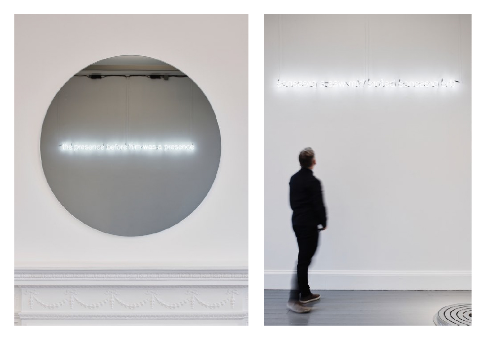 Walker and Walker. THE PRESENCE BEFORE HIM WAS A PRESENCE (Henry James), 2019. Reversed white neon, reflection in mirror. Installation dimensions variable