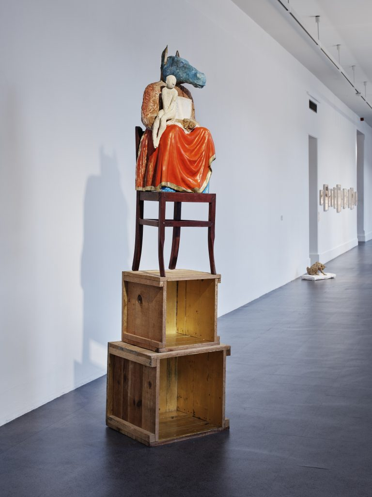 Janet Mullarney, Domestic Gods I, 1997, Wood, mixed media, chair, gold leaf , 100 x 50 x 95 cm, Collection Irish Museum of Modern Art, Donation, 2018, Photograph Ros Kavanagh