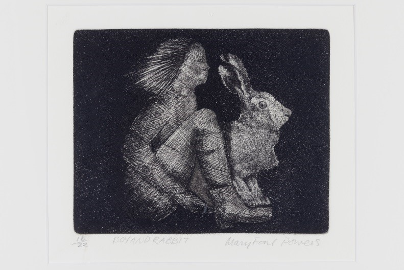 Mary Farl Powers, Boy and Rabbit, 1972, Monochrome etching, 15.5 x 19.5 cm, Collection Irish Museum of Modern Art, Donation, Powers Family, 2009