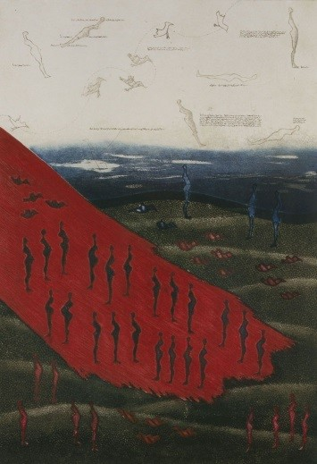 Mary Farl Powers, Red on Green, 1975, Colour etching, 43 x 30 cm, Collection Irish Museum of Modern Art, Donation, Powers Family, 2009